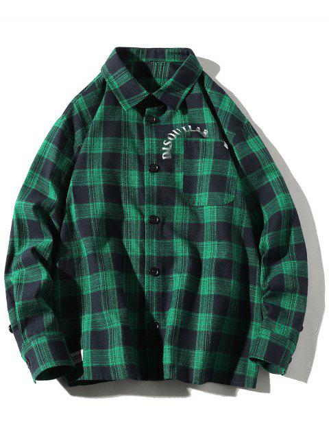 women's Letter Print Plaid Pocket Button Shirt - GREENISH BLUE 2XL Mobile