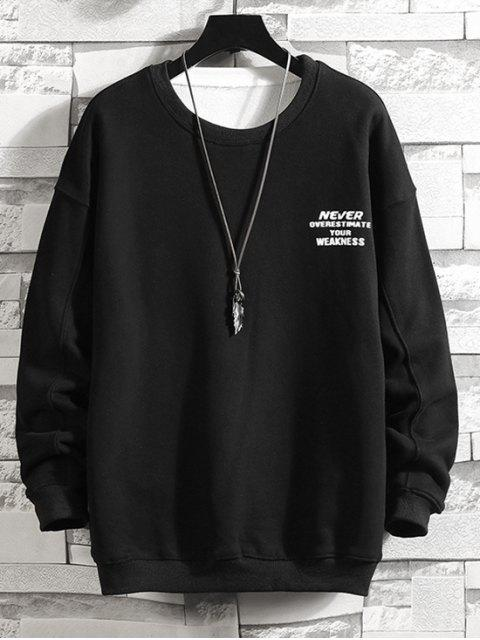 字母字符,圖形打印套衫運動衫 - 黑色 L Mobile