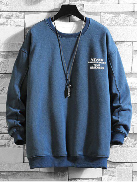 字母字符,圖形打印套衫運動衫 - 海藍色 L Mobile