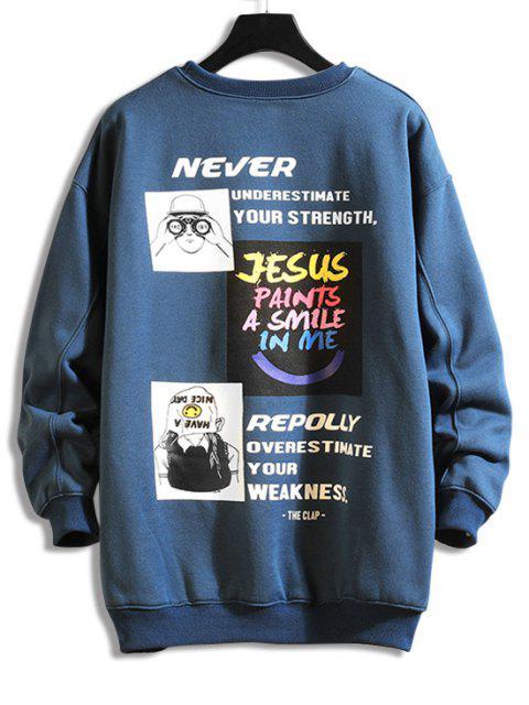 字母字符,圖形打印套衫運動衫 - 海藍色 XL Mobile