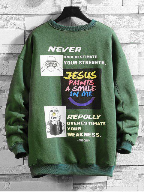 字母字符,圖形打印套衫運動衫 - 海綠色 XL Mobile