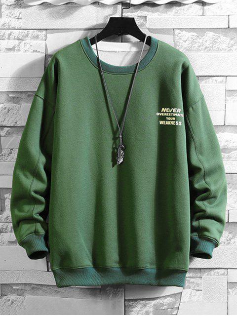 Sudadera con Estampado de Letras - Verde de Mar  2XL Mobile