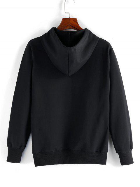 中國信打印索繩袋口袋帽衫 - 黑色 L Mobile