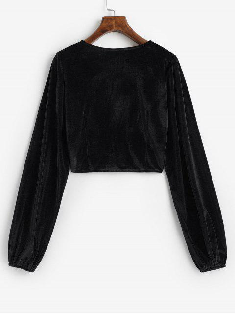 women's Velvet Loop Button Plunge Crop Top - BLACK L Mobile