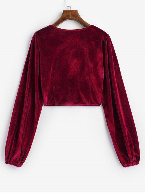 ladies Velvet Loop Button Plunge Crop Top - RED L Mobile