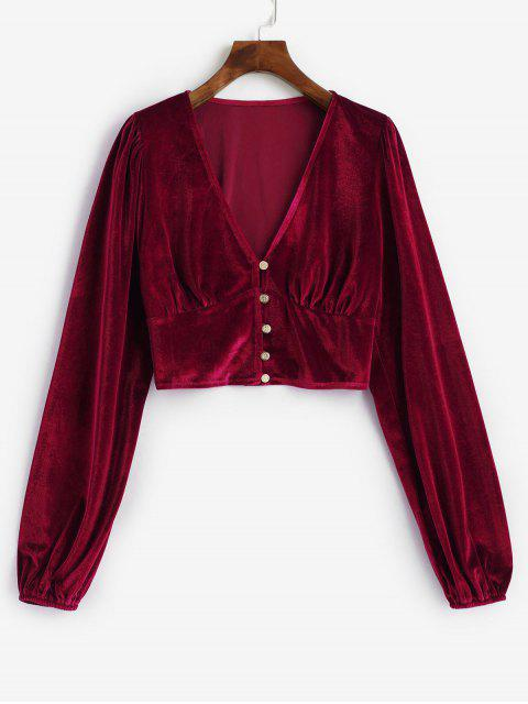 lady Velvet Loop Button Plunge Crop Top - RED S Mobile