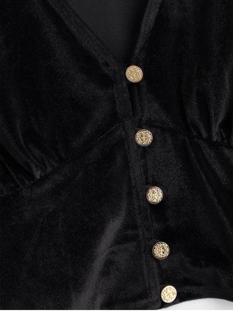 online Velvet Loop Button Plunge Crop Top - BLACK S Mobile