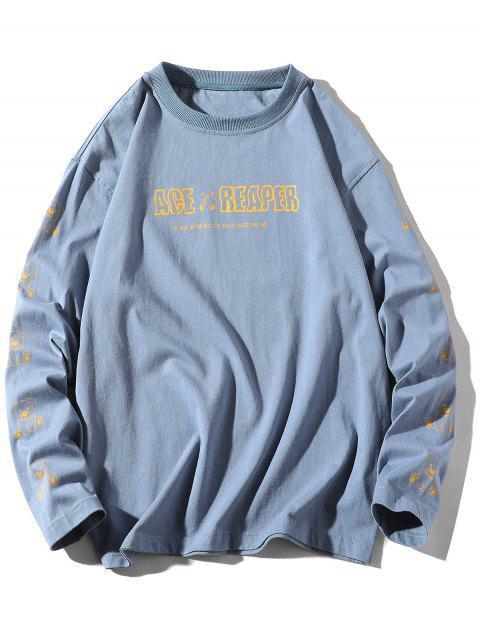 長袖熊動物字母印花T卹 - 絲藍色 M Mobile