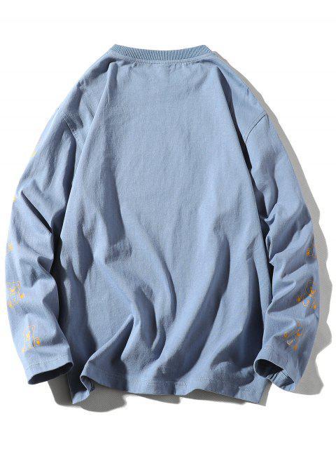 長袖熊動物字母印花T卹 - 絲藍色 L Mobile