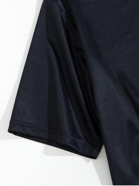 花卉植物飛鶴信打印短袖T卹 - 黑色 2XL Mobile