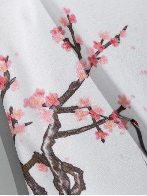 hot Flower Plant Flying Crane Letter Print Short Sleeve T-shirt - WHITE 2XL Mobile