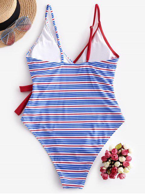 ZAFUL重疊捆邊條紋連體泳衣 - 紅 XL Mobile