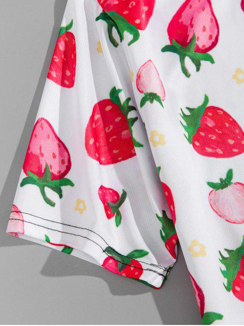 new Strawberry Print Short Sleeve T-shirt - PINK ROSE 4XL Mobile