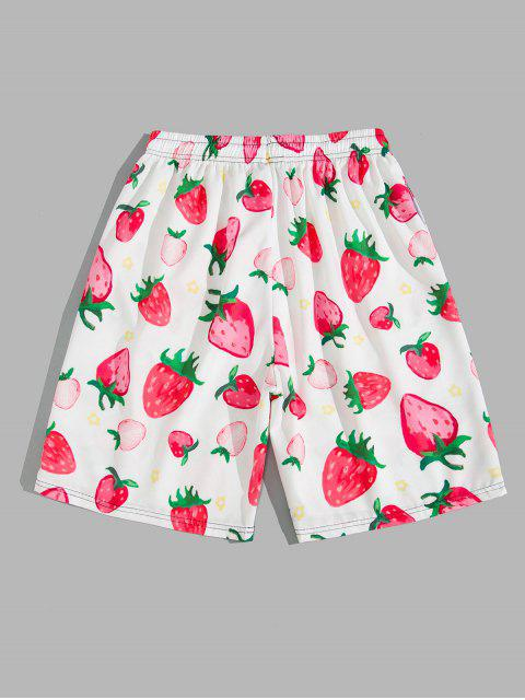 ladies Strawberry Print Drawstring Beach Shorts - PINK ROSE M Mobile