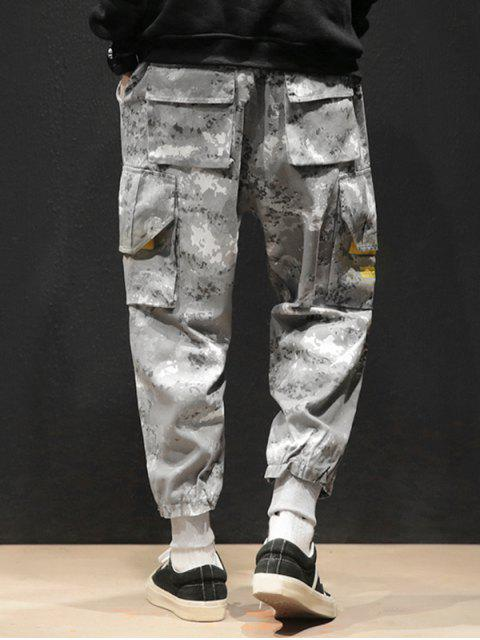 women's Camouflage Print Flap Pockets Drawstring Jogger Pants - ACU CAMOUFLAGE M Mobile