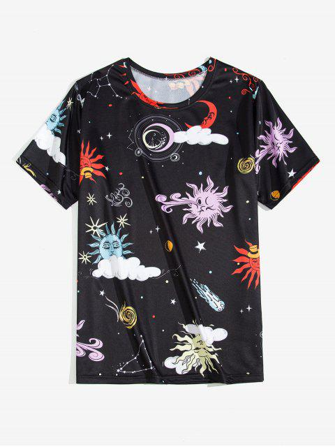 best Cartoon Sun and Moon Graphic Short Sleeve T-shirt - BLACK M Mobile