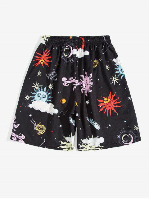 sale Cartoon Sun and Moon Print Beach Shorts - BLACK 4XL Mobile