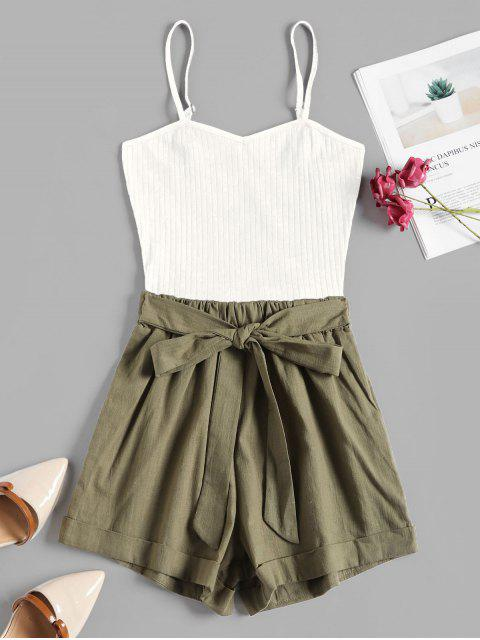 chic Ribbed Panel Tie Waist Two Tone Cami Romper - WHITE L Mobile