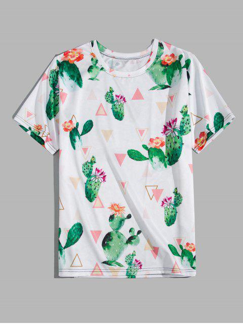 lady Cactus Flower Geometric Print Short Sleeve T-shirt - WHITE 3XL Mobile
