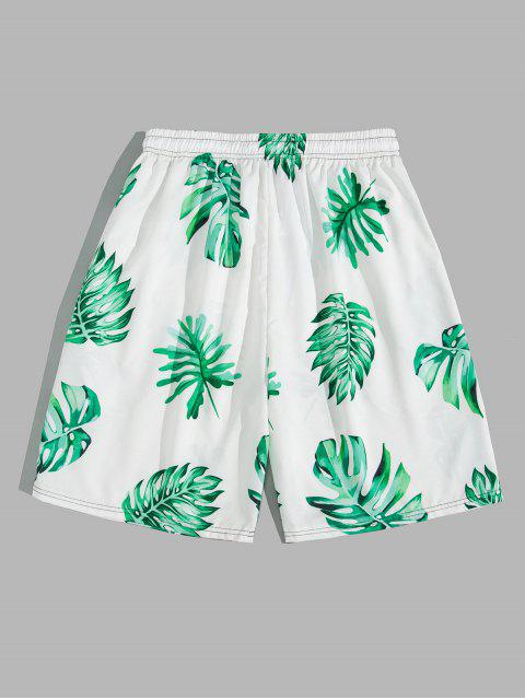 best Tropical Leaf Vacation Board Shorts - LIGHT SEA GREEN L Mobile