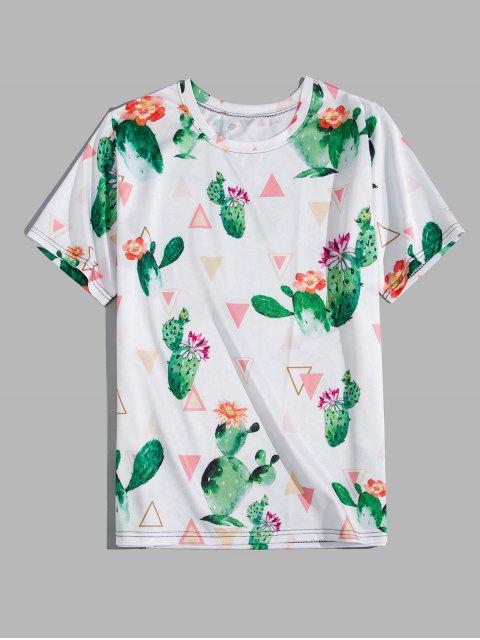new Cactus Flower Geometric Print Short Sleeve T-shirt - WHITE M Mobile