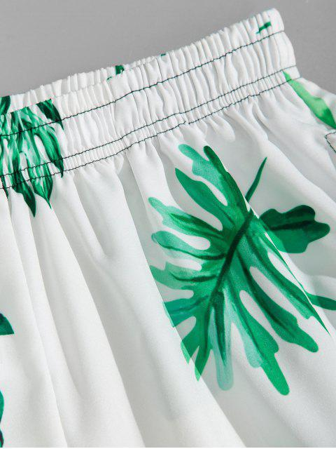 fancy Tropical Leaf Vacation Board Shorts - LIGHT SEA GREEN 4XL Mobile