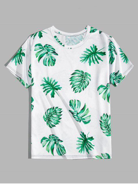 sale Tropical Leaf Print Vacation T-shirt - LIGHT SEA GREEN L Mobile