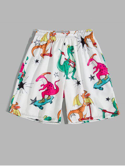 ladies Cartoon Playing Dinosaur Print Board Shorts - WHITE M Mobile