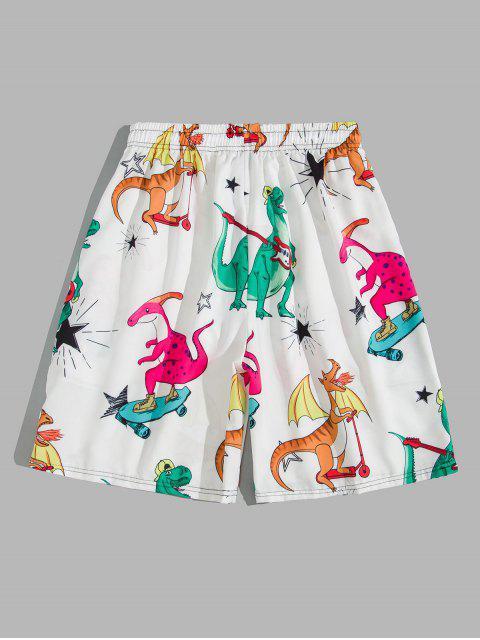 lady Cartoon Playing Dinosaur Print Board Shorts - WHITE XL Mobile