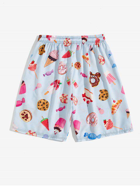outfits Dessert Allover Print Beach Shorts - LAVENDER BLUE 3XL Mobile