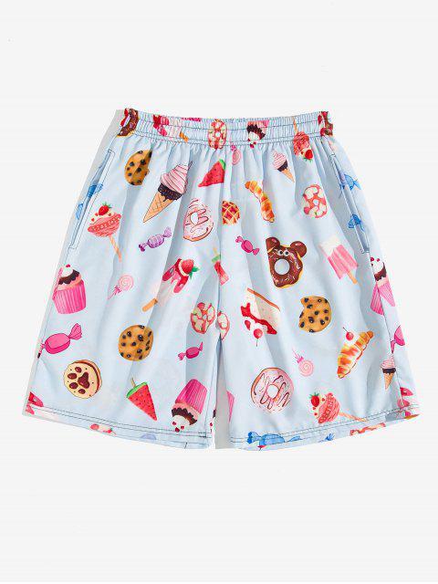 sale Dessert Allover Print Beach Shorts - LAVENDER BLUE M Mobile