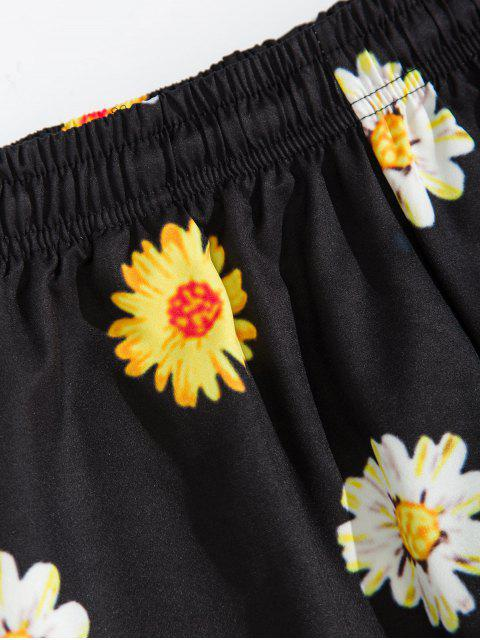 shop Daisy Print Drawstring Beach Shorts - BLACK XL Mobile