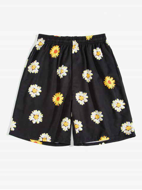 shops Daisy Print Drawstring Beach Shorts - BLACK 2XL Mobile
