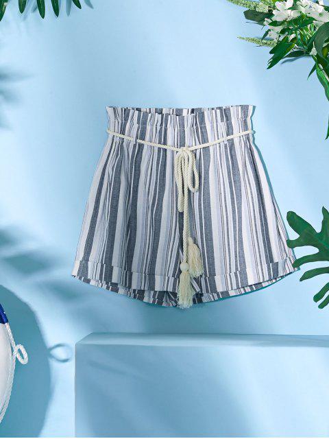 best ZAFUL Rope Belt Striped Paperbag Shorts - MIST BLUE L Mobile
