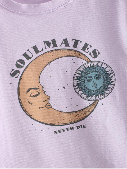 T-shirt Court Graphique Lune et Soleil à Ourlet Roulé - Mauve S Mobile