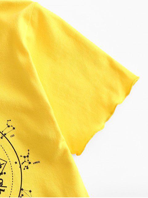 T-shirt Court Constellation de Nuit Etoile Graphique - Jaune M Mobile