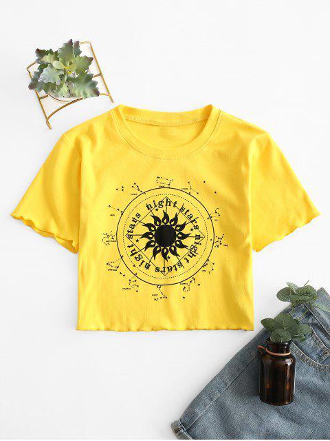 Constellation Stern Grafisches Crop T-Shirt - Gelb L Mobile