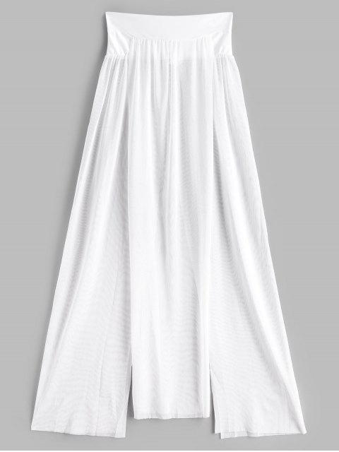 Maschen Durchsehendes Schlitz Cover-Up Rock - Weiß Eine Größe Mobile