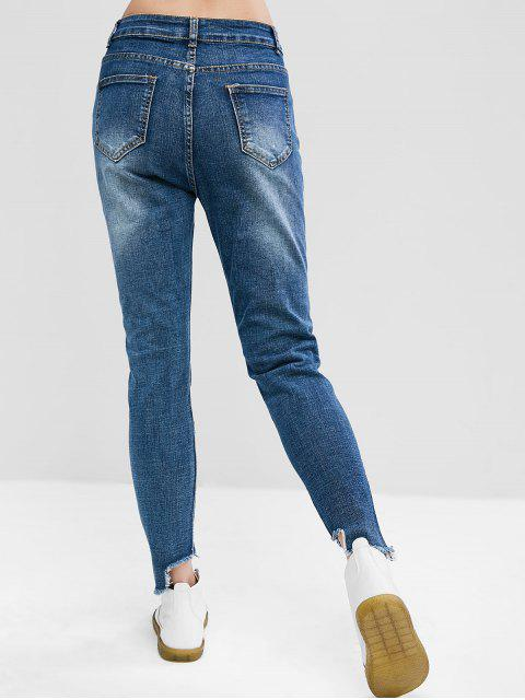 unique Distressed Zipper Fly Skinny Jeans - BLUE S Mobile