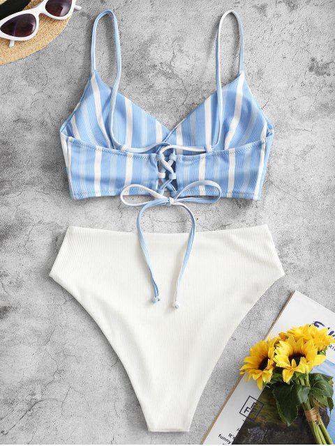 ZAFUL Gerippte Streifen Tankini Badebekleidung mit Schnürung mit Hoher Taille - Kornblumenblau S Mobile
