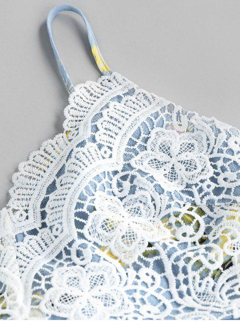 women ZAFUL Flower Crochet Knot Cami Two Piece Set - WHITE L Mobile