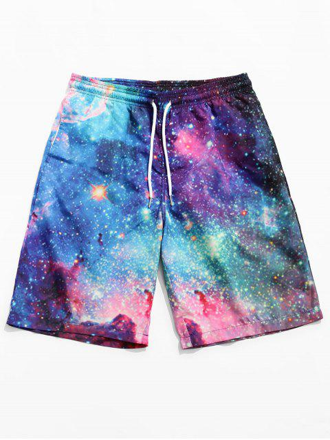 lady Galaxy Printed Drawstring Board Shorts - NEBULA M Mobile