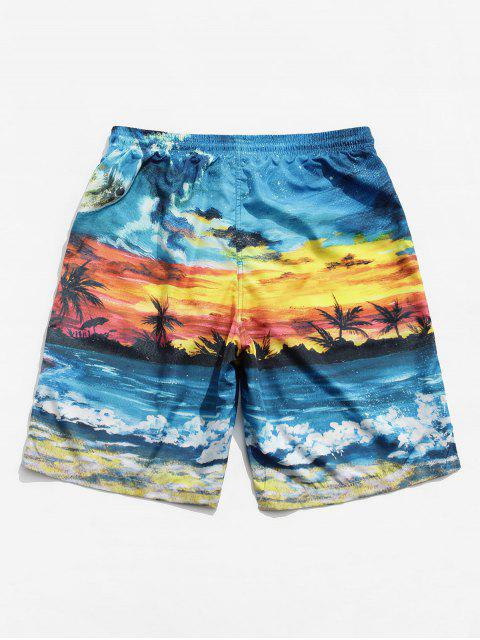 womens Beach Scenic Printed Board Shorts - MULTI M Mobile