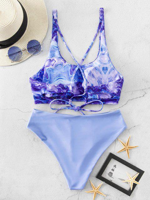 ladies ZAFUL Abstract Print Lace Up High Cut Tankini Swimsuit - POWDER BLUE M Mobile