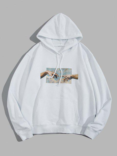 latest Helping Hands Graphic Front Pocket Lounge Hoodie - WHITE L Mobile