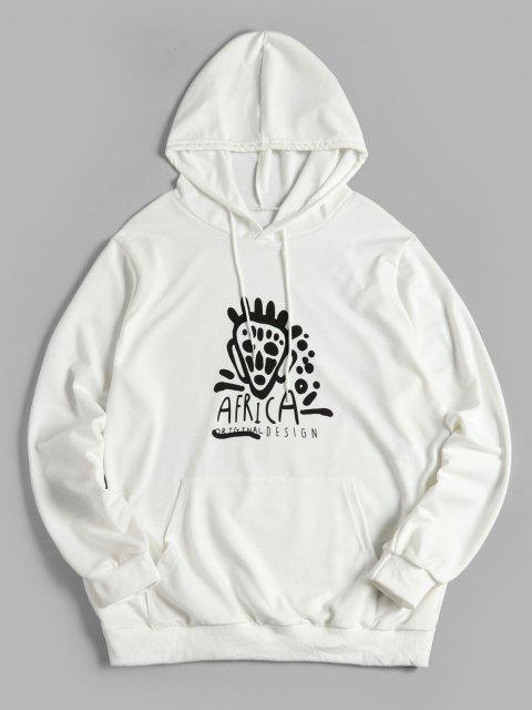 fashion ZAFUL Letter Cartoon Printed Pocket Hoodie - WHITE 2XL Mobile