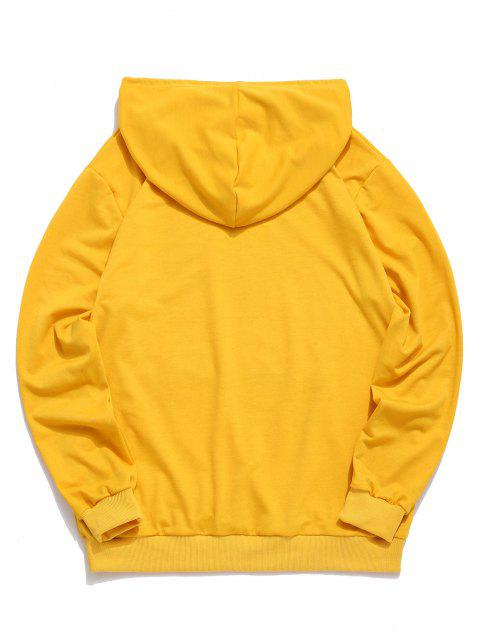 chic Chinese Print Casual Drawstring Hoodie - YELLOW XL Mobile