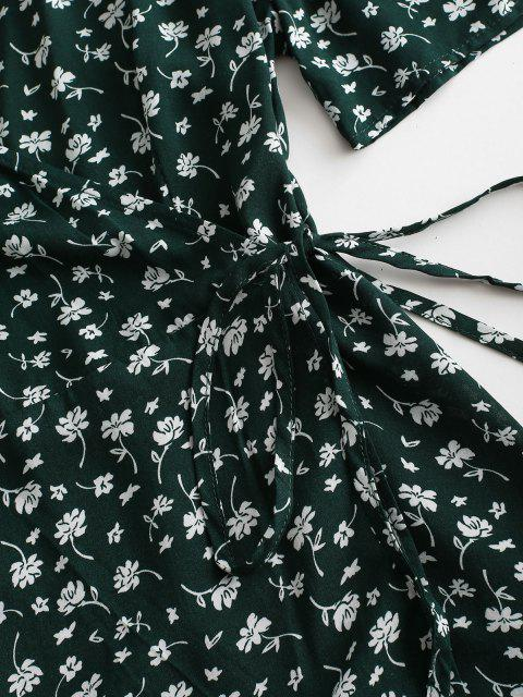 latest V Neck Tiny Floral Wrap Dress - GREEN S Mobile