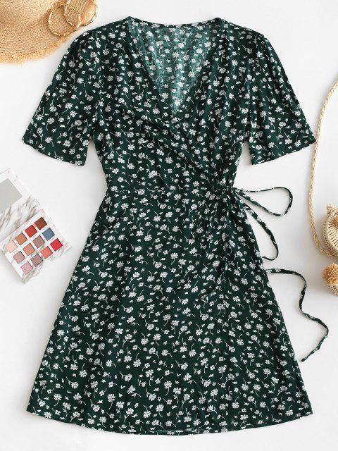 V الرقبة صغيرة الزهور التفاف اللباس - أخضر S Mobile