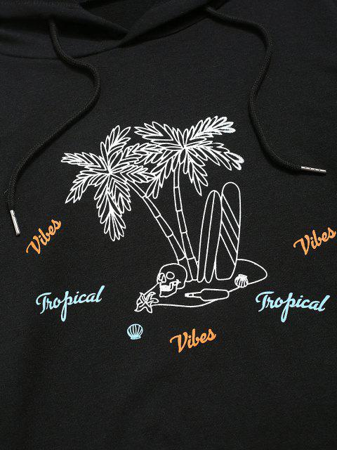ladies Coconut Tree Print Casual Hoodie - BLACK S Mobile